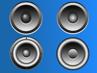 4 Loudspeakers - Vector Illustration