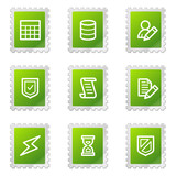 Database web icons, green stamp series poster