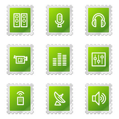 Media web icons, green stamp series