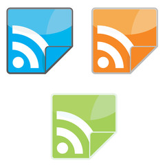 Vector colored RSS icons.