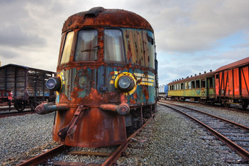 Abandoned railroad engine