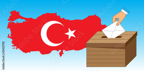 Wooden ballot box with a vote letter and Turkey Map and Flag.