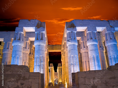 Hypostyle hall of Luxor temple at sunset