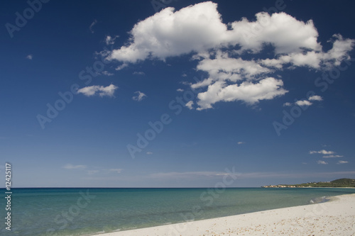 tropical beach with a cloudy blue sky