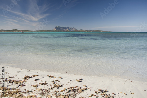 tropical beach with white sand, clear water and a blue sky