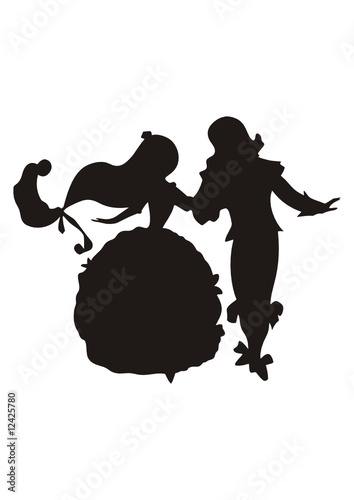 Dancing Prince and Princess - Silhouette Vector