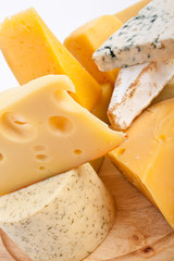 Various types of cheese in a composition
