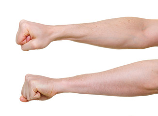 two fists from different side angles