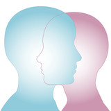 Male & Female Silhouette Profile Faces Merge poster