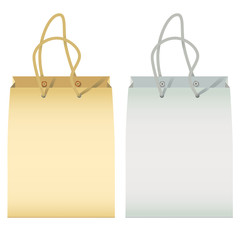 two paper  bag with handles isolated on white(vector, CMYK)