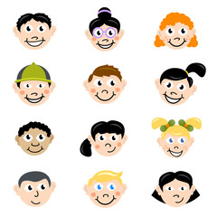 cartoon children face vector