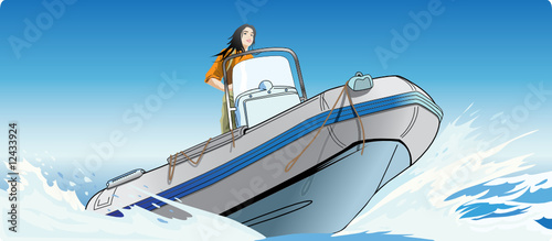 The girl rushing on a fast boat in the high sea. - 12433924