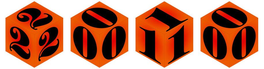 année 2010 sur des cubes orange