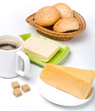 breakfast meal - coffee, brown sugar, butter, buns, cheese poster