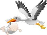 Stork delivering a newborn baby poster