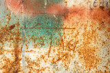 Rusty metal surface with peeled paint and etched numbers. poster