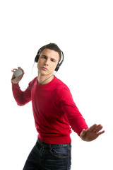 Young student boy dress in red hearing mp3 music