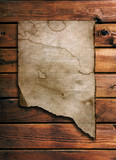 ragged  old paper on brown wood wall poster