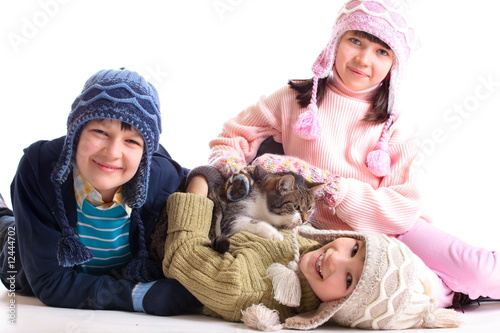 Children with their cat