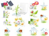 Fototapety Flower theme glossy icon set