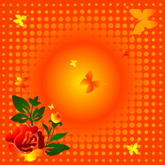 Orange floral  background with rose and butterflies