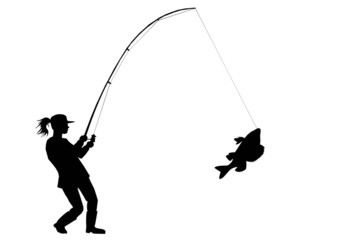 silhouette of fisher woman with perch