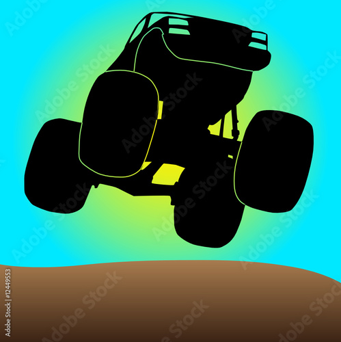 Foto op Canvas Cartoon cars monster, truck