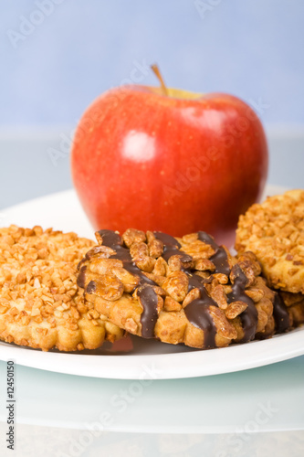 Cookies and apple for breakfast