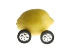 Ecological transport metaphor, lemon and wheels poster