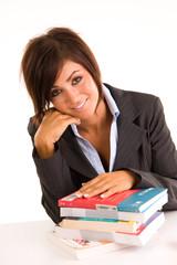 Beautiful young brunette girl studing