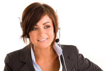 Beautiful young brunette girl with headset