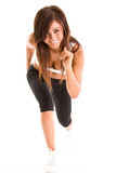 Beautiful young brunette working out