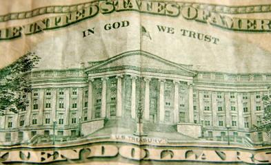 In God we trust. Détail de billet de banque américain.
