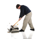 Man Destroying Printer with Sledgehammer poster