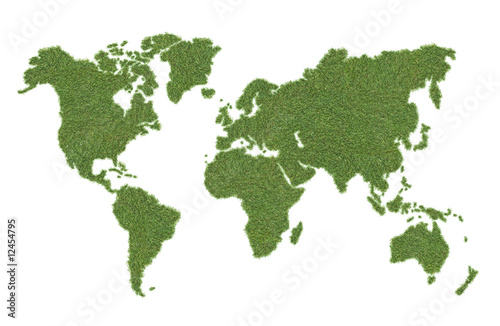 Poster Wereldkaart green world