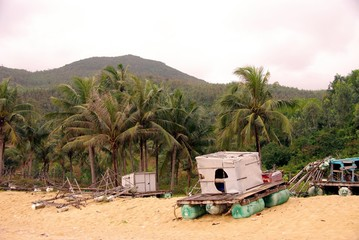 A fishing raft at the beach of Qui Nhon in Vietnam