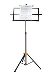 Music stand with piano notes isolated