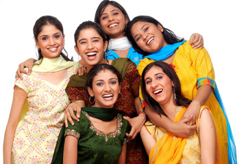 six young girls