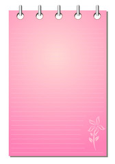 Spiral bound empty pink notepad with flower pattern