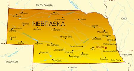 Vector color map of Nebraska state. Usa