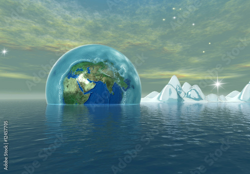 frozen earth in to the the ocean, environmental catastrophe
