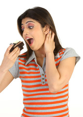girl eating chocolate cake