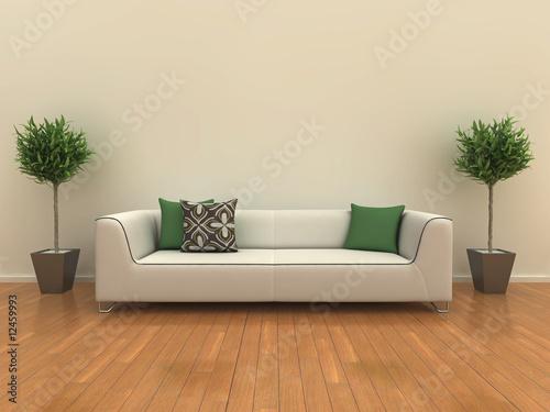 Sofa z roślinami