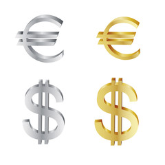 silver and golden euro and american dollar symbols