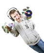 Young man listens to music, Holding CDs