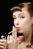 Smoking retro woman
