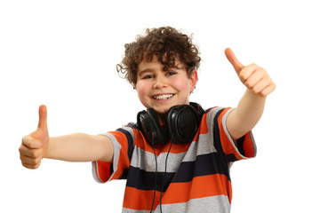 Boy with headphones showing OK sign isolated on white