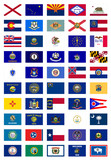 Fototapety US States Flags Poster