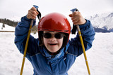 Fototapety jeune fille trisomique à la neige