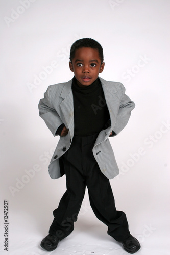 African american boy  with hands on his hips